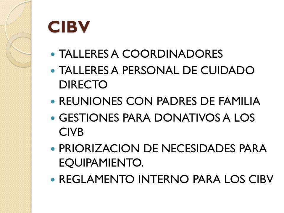 CIBV TALLERES A COORDINADORES TALLERES A PERSONAL DE CUIDADO DIRECTO