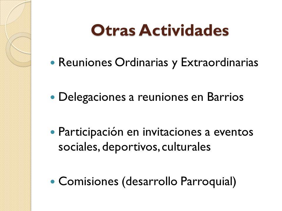 Otras Actividades Reuniones Ordinarias y Extraordinarias