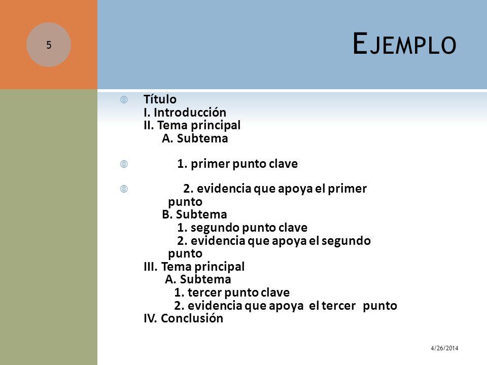 Ejemplo Título I. Introducción II. Tema principal A. Subtema