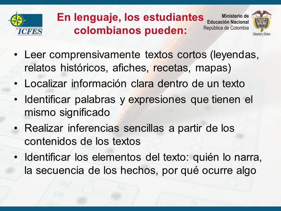 En lenguaje, los estudiantes colombianos pueden: