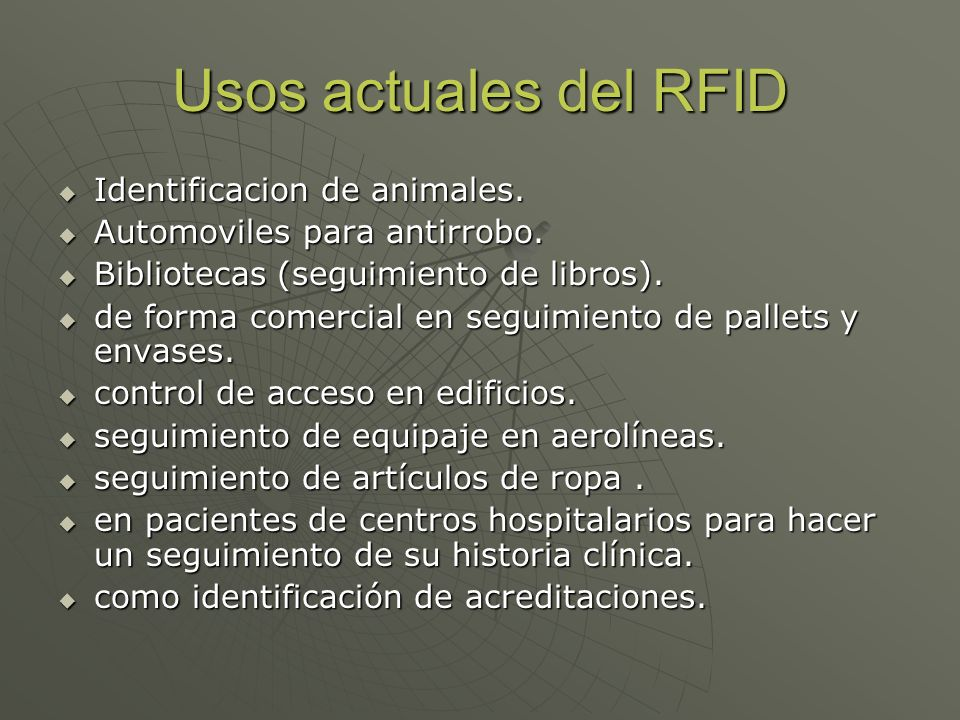 Usos actuales del RFID Identificacion de animales.