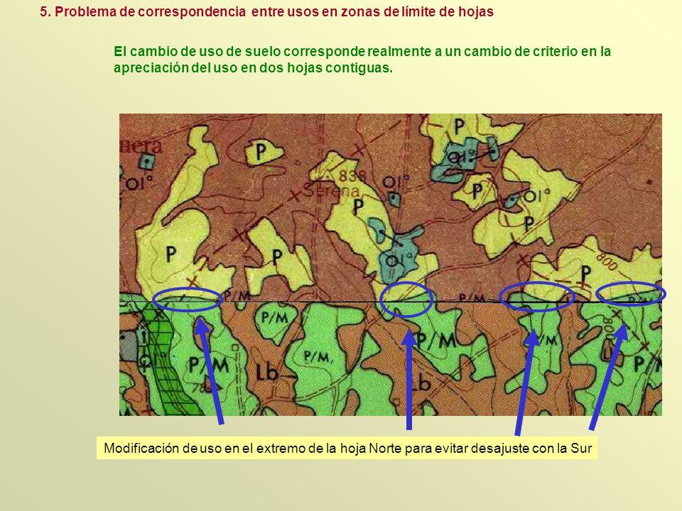 5. Problema de correspondencia entre usos en zonas de límite de hojas