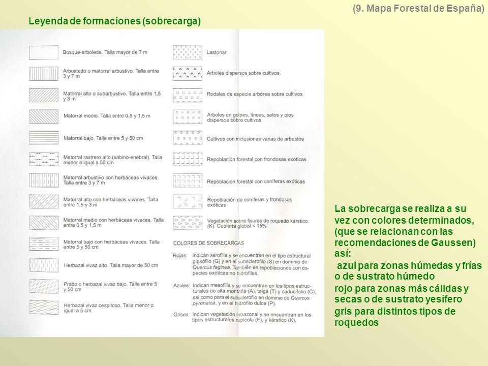 (9. Mapa Forestal de España) Leyenda de formaciones (sobrecarga)