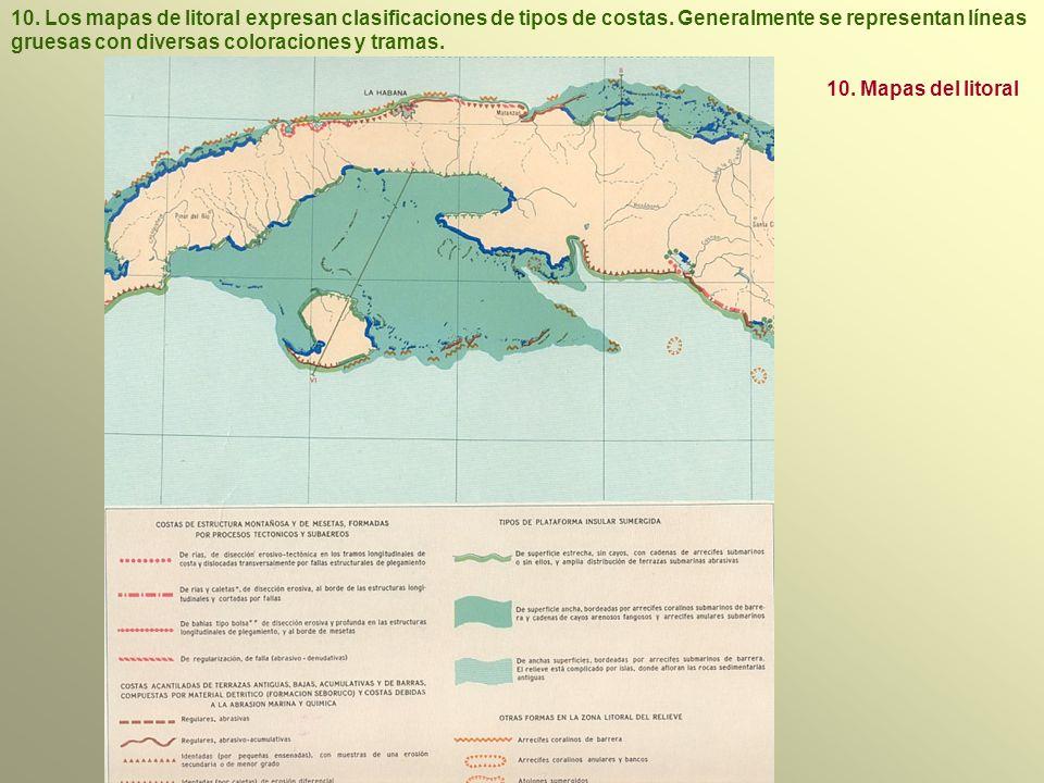 10. Los mapas de litoral expresan clasificaciones de tipos de costas