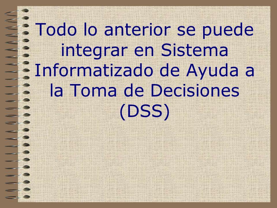 Todo lo anterior se puede integrar en Sistema Informatizado de Ayuda a la Toma de Decisiones (DSS)