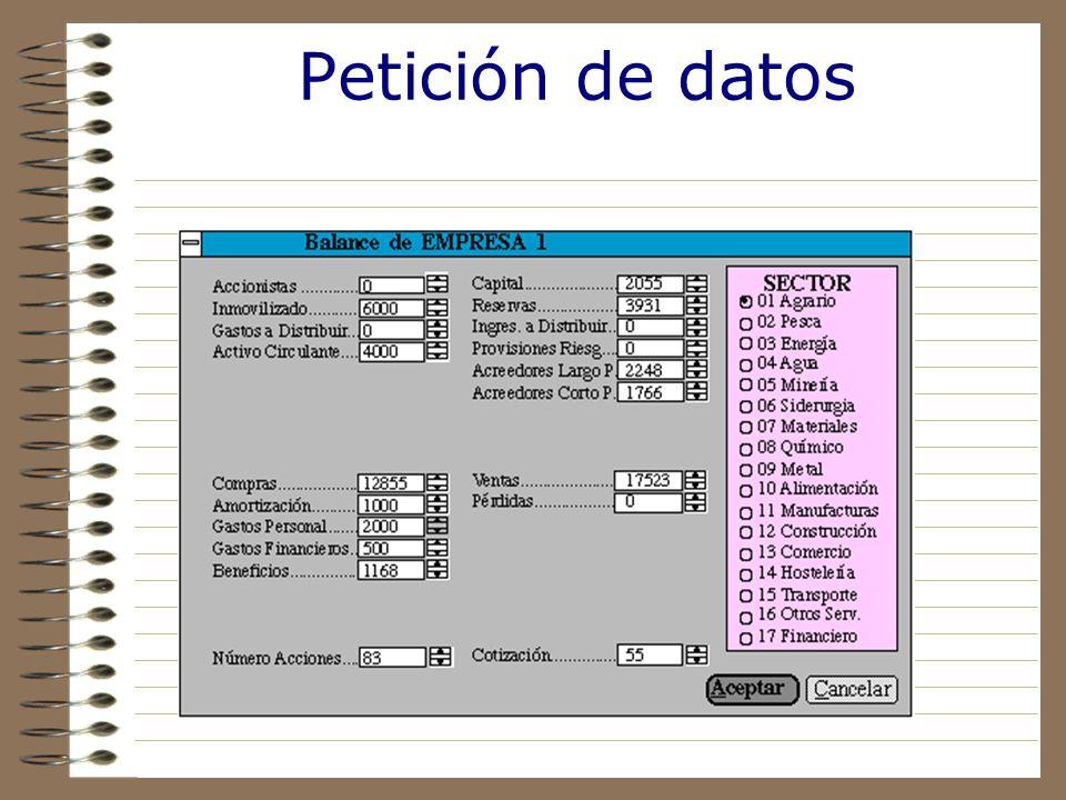 Petición de datos Solicita información financiera de la empresa y sector al que pertenece