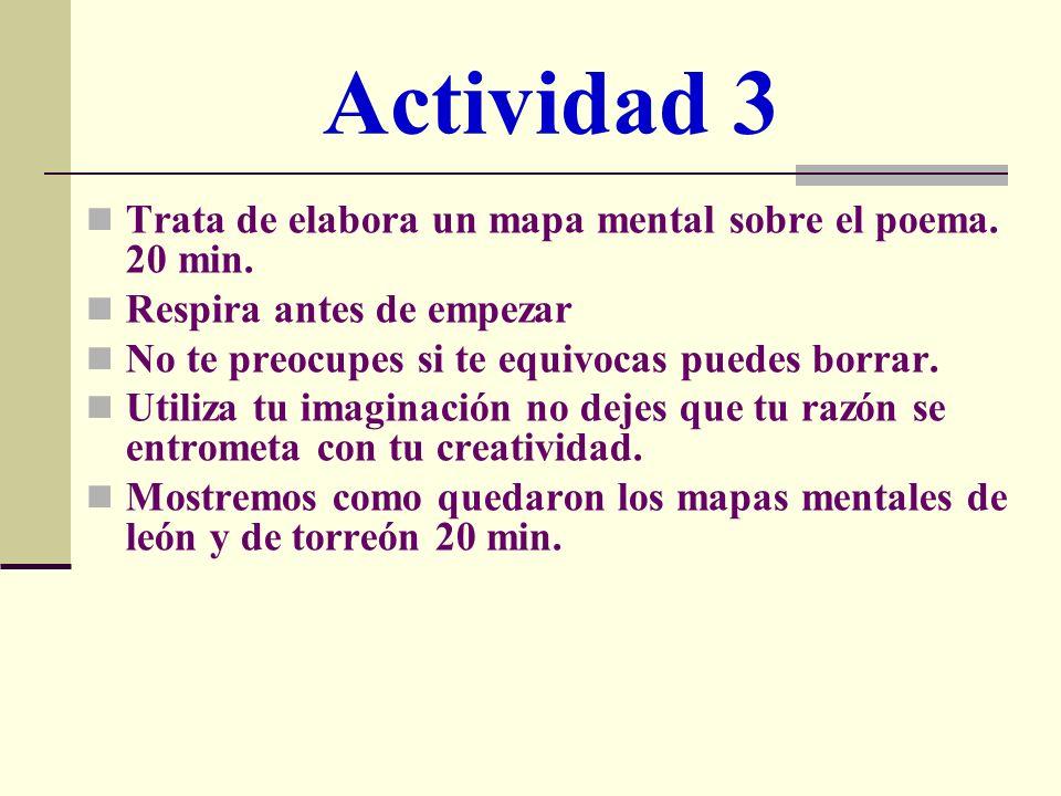 Actividad 3 Trata de elabora un mapa mental sobre el poema. 20 min.