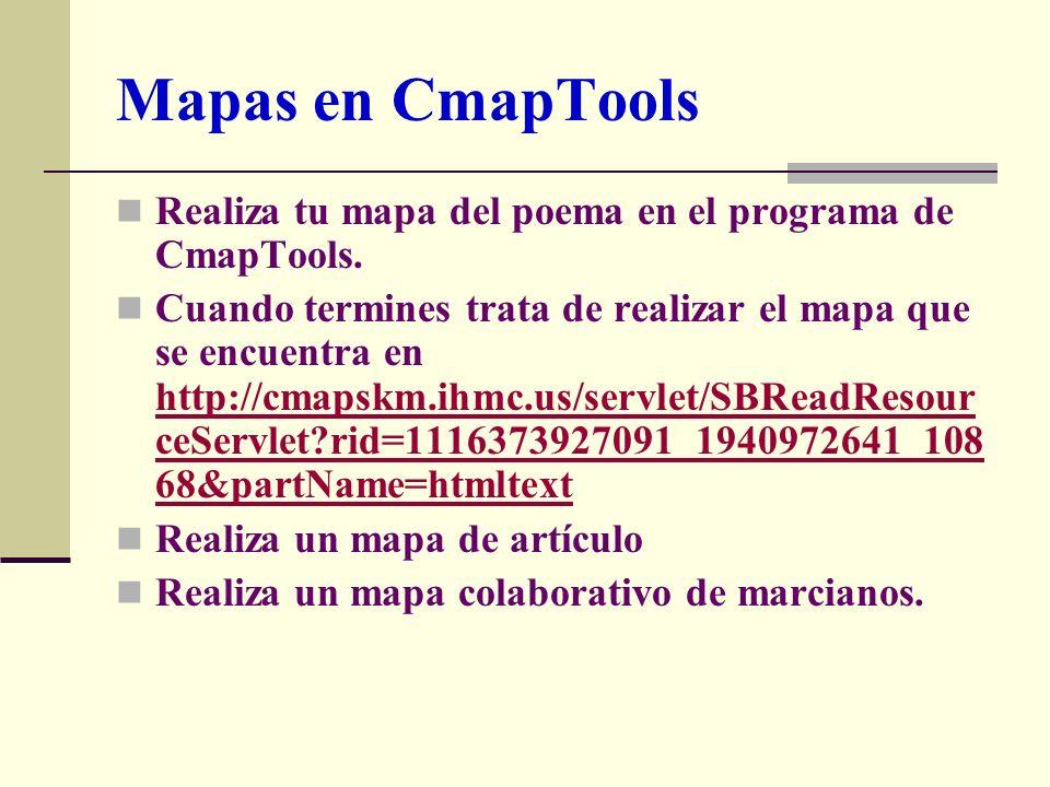 Mapas en CmapTools Realiza tu mapa del poema en el programa de CmapTools.