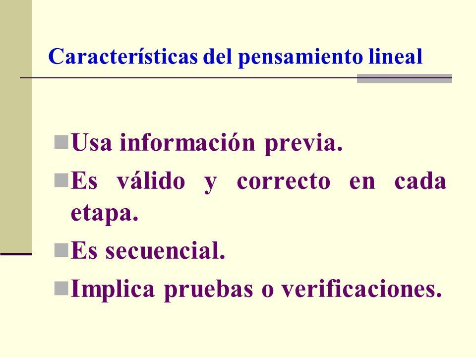 Características del pensamiento lineal