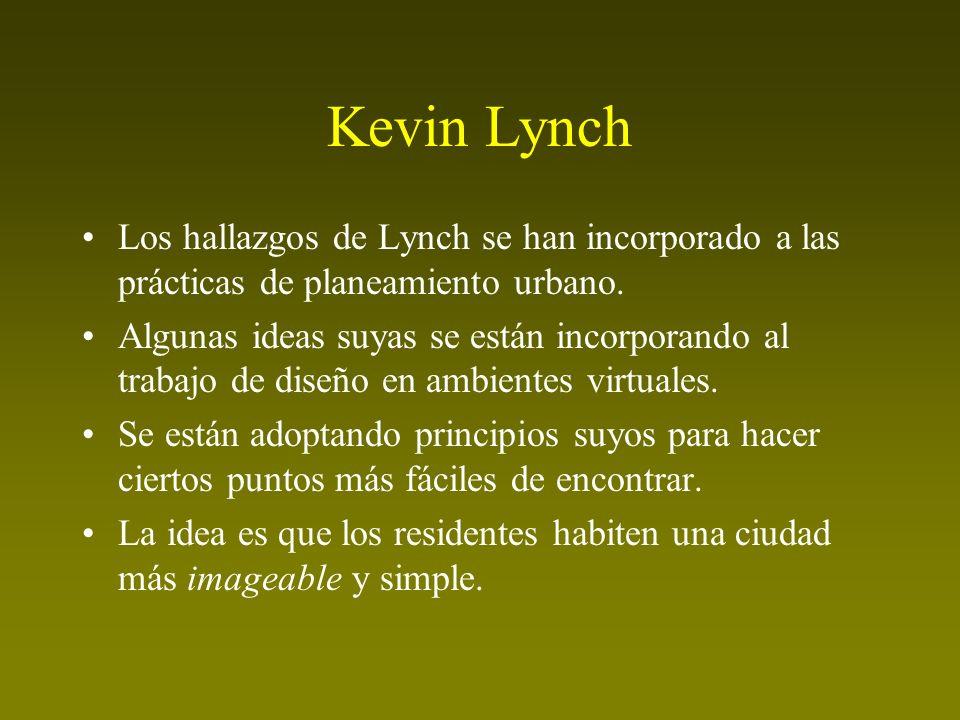 Kevin Lynch Los hallazgos de Lynch se han incorporado a las prácticas de planeamiento urbano.