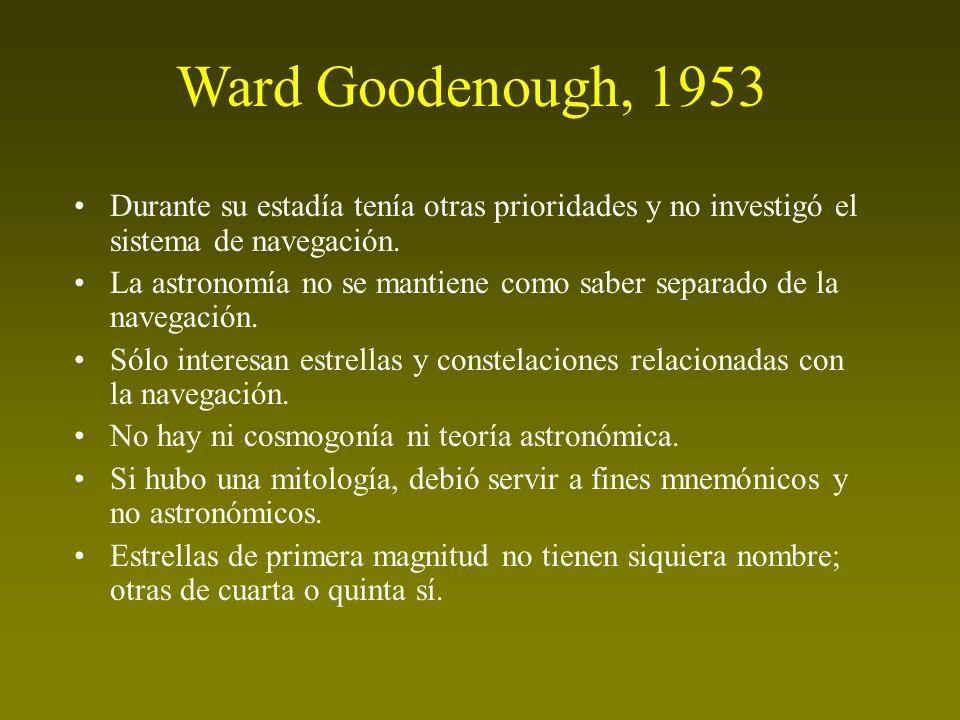 Ward Goodenough, 1953 Durante su estadía tenía otras prioridades y no investigó el sistema de navegación.