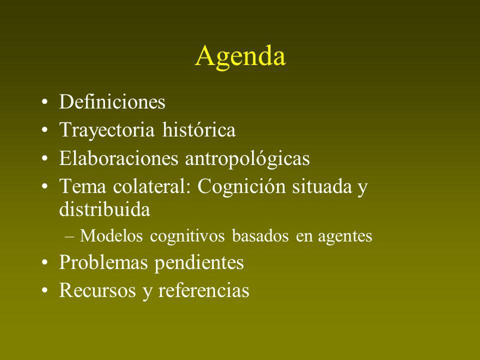 Agenda Definiciones Trayectoria histórica Elaboraciones antropológicas