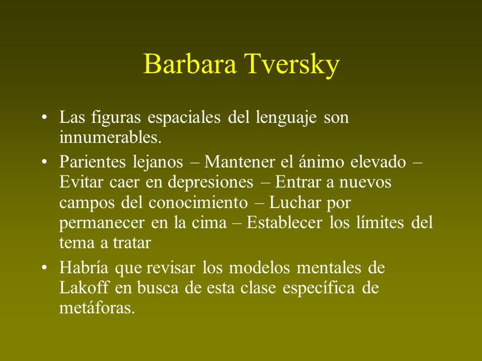 Barbara Tversky Las figuras espaciales del lenguaje son innumerables.