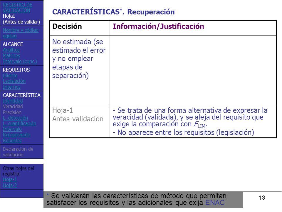 CARACTERÍSTICAS*. Recuperación Decisión Información/Justificación