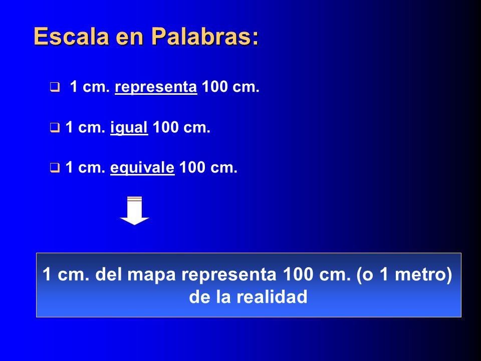 1 cm. representa 100 cm. 1 cm. igual 100 cm. 1 cm. equivale 100 cm.