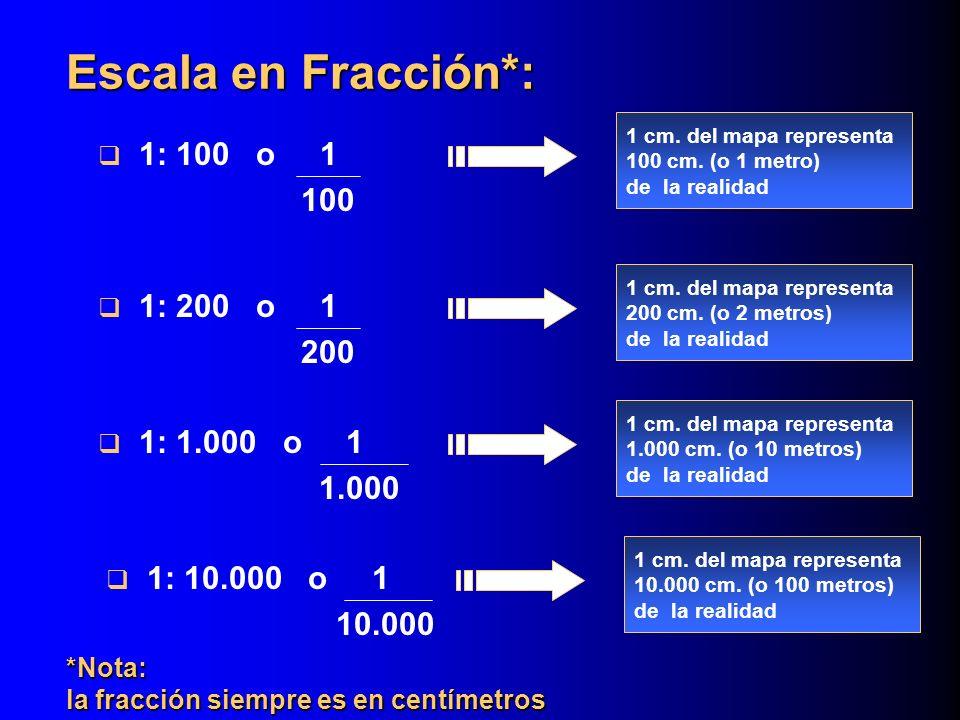 Escala en Fracción*: 1: 100 o 1 100 1: 200 o 1 200 1: 1.000 o 1 1.000