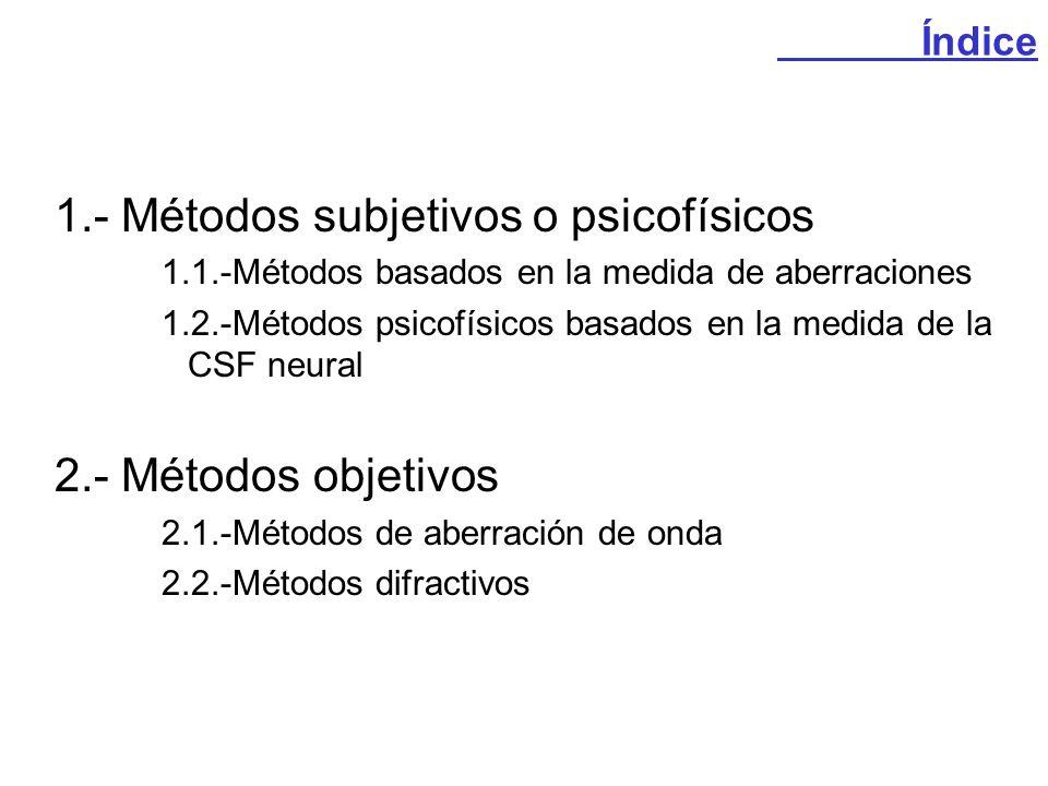 1.- Métodos subjetivos o psicofísicos
