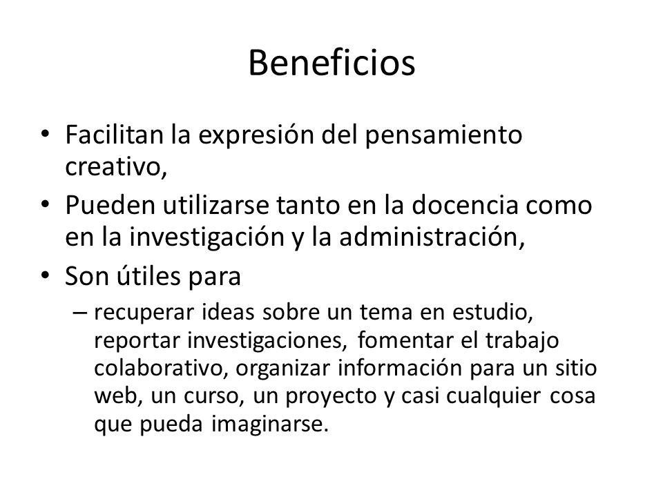 Beneficios Facilitan la expresión del pensamiento creativo,