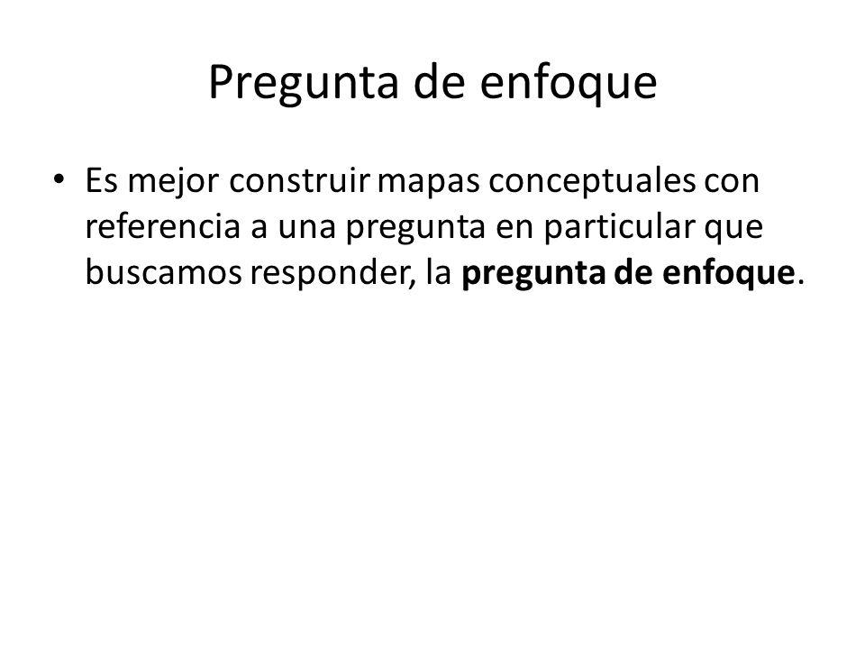 Pregunta de enfoque Es mejor construir mapas conceptuales con referencia a una pregunta en particular que buscamos responder, la pregunta de enfoque.