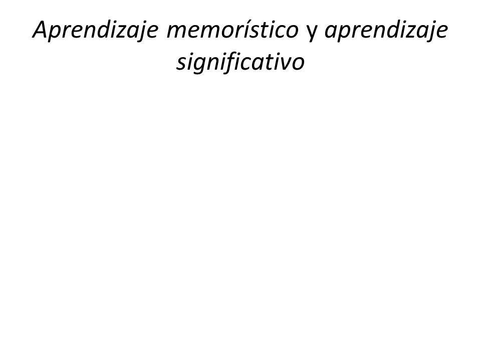 Aprendizaje memorístico y aprendizaje significativo