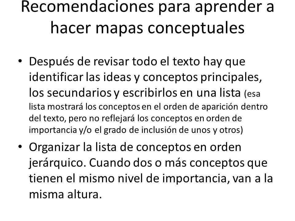Recomendaciones para aprender a hacer mapas conceptuales