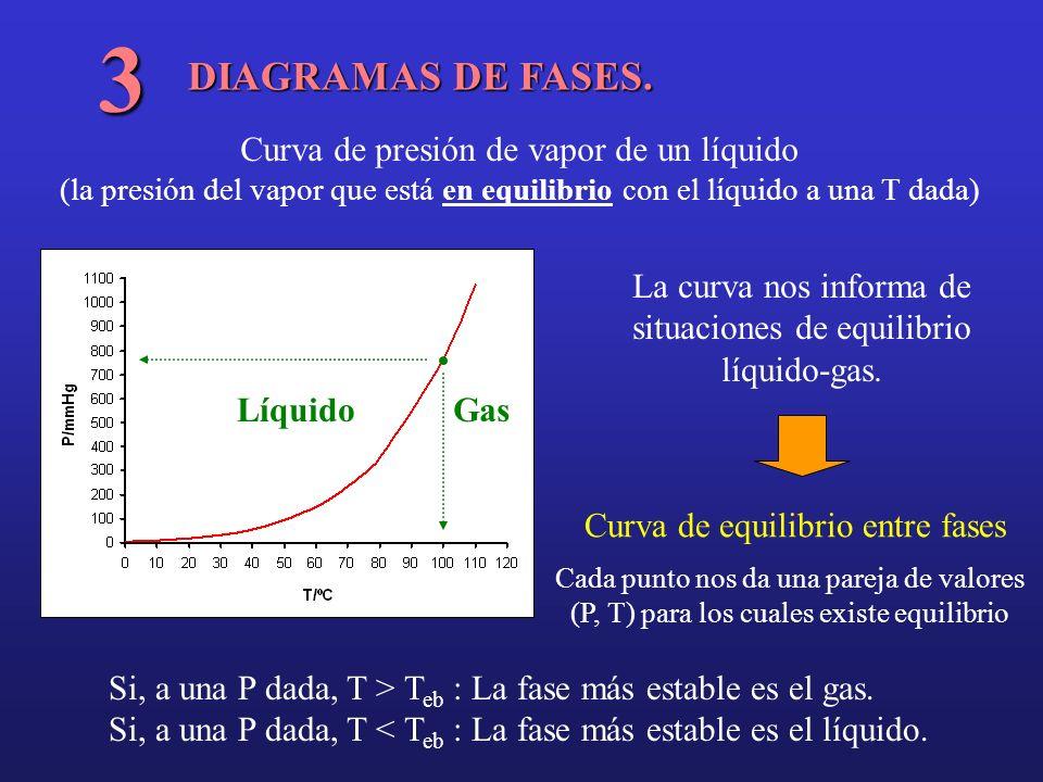 La curva nos informa de situaciones de equilibrio líquido-gas.