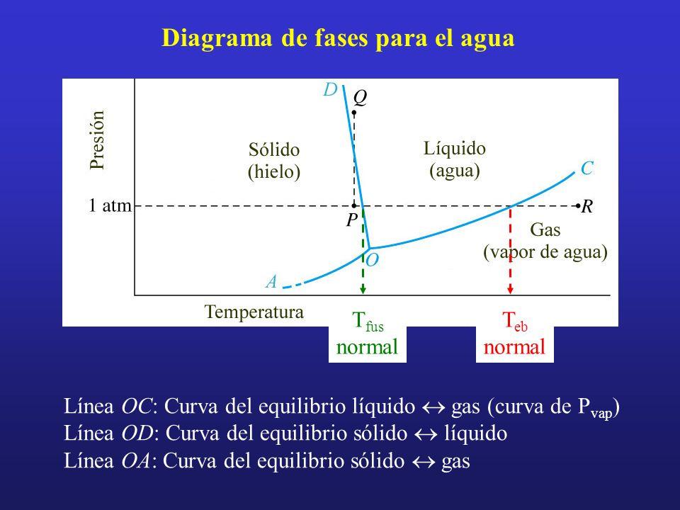 Diagrama de fases para el agua