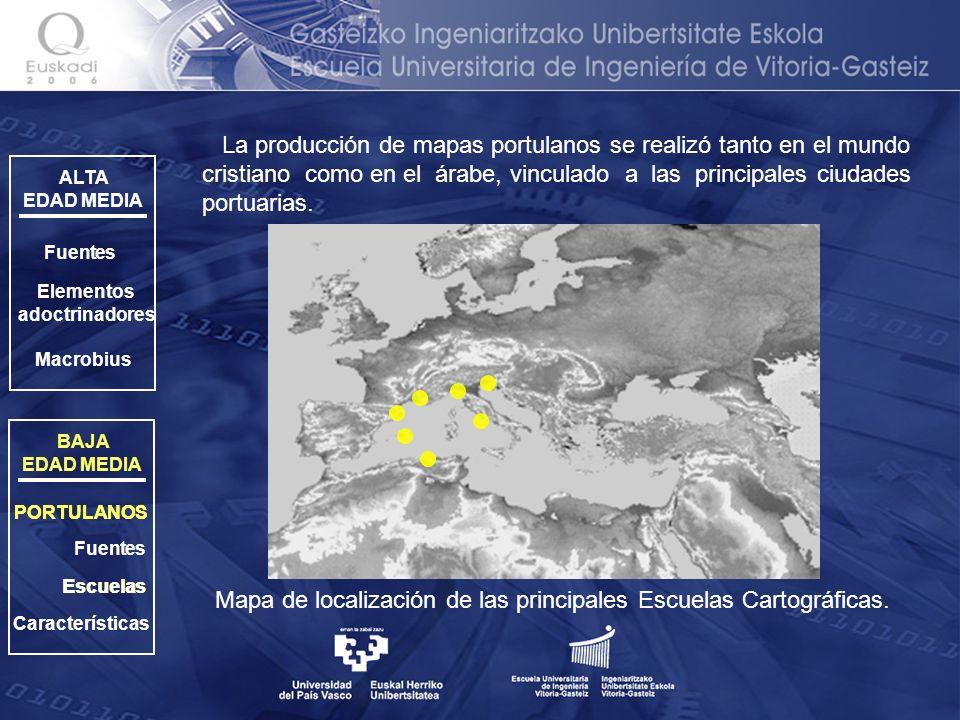 Mapa de localización de las principales Escuelas Cartográficas.