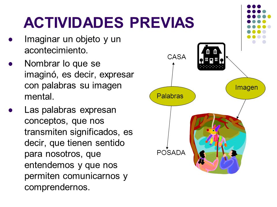 ACTIVIDADES PREVIAS Imaginar un objeto y un acontecimiento.