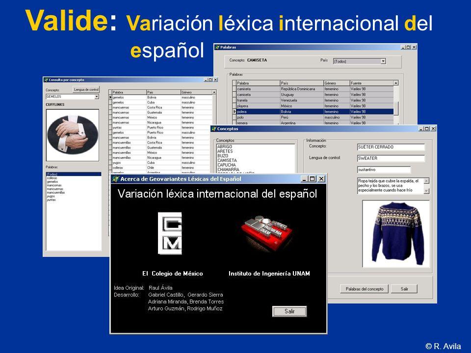 Valide: Variación léxica internacional del español
