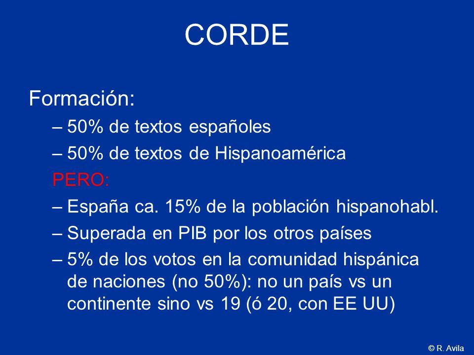CORDE Formación: 50% de textos españoles