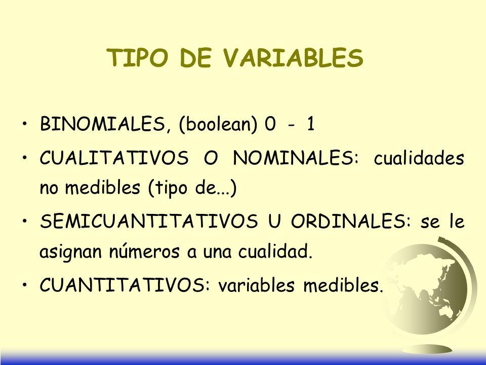 TIPO DE VARIABLES BINOMIALES, (boolean) 0 - 1