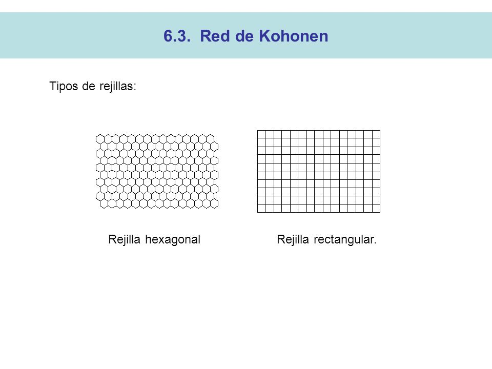 Rejilla hexagonal Rejilla rectangular.