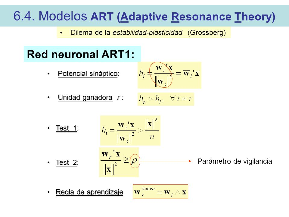 6.4. Modelos ART (Adaptive Resonance Theory)
