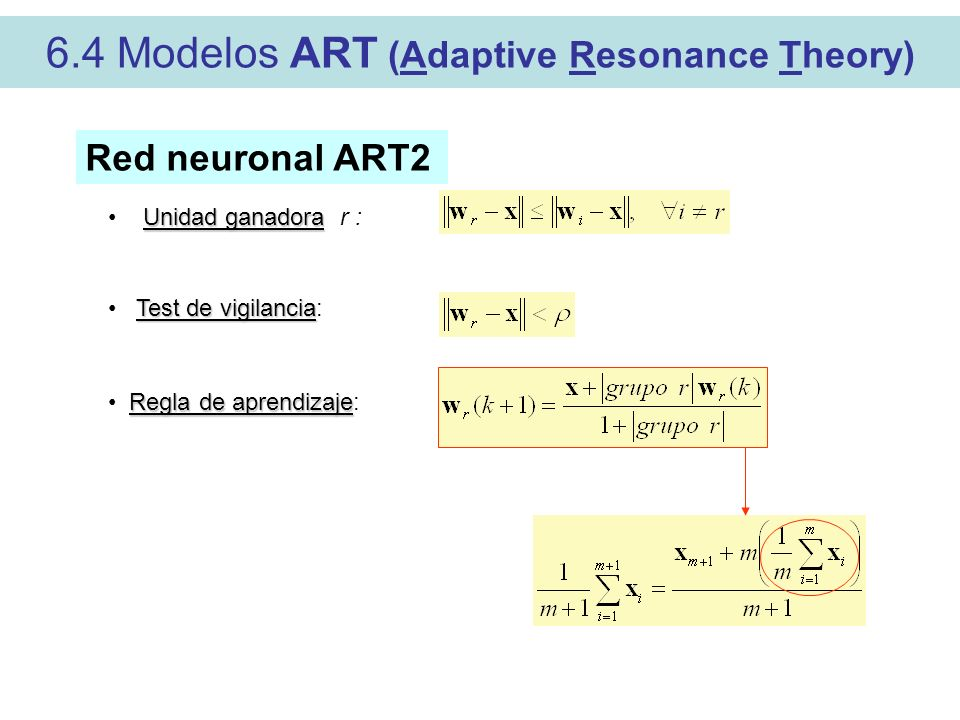 6.4 Modelos ART (Adaptive Resonance Theory)
