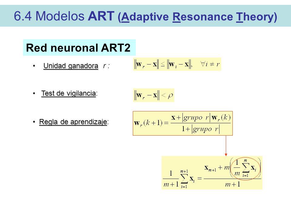 6.4 Modelos ART (Adaptive Resonance Theory)