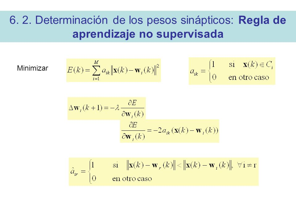 6. 2. Determinación de los pesos sinápticos: Regla de aprendizaje no supervisada