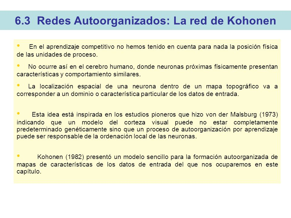 6.3 Redes Autoorganizados: La red de Kohonen