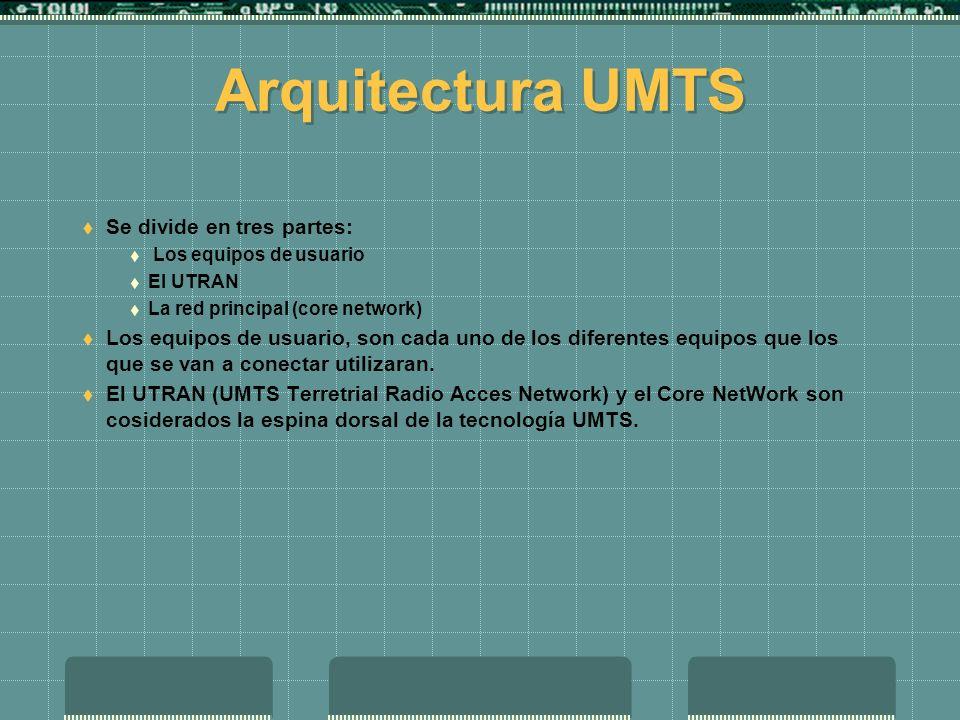 Arquitectura UMTS Se divide en tres partes: