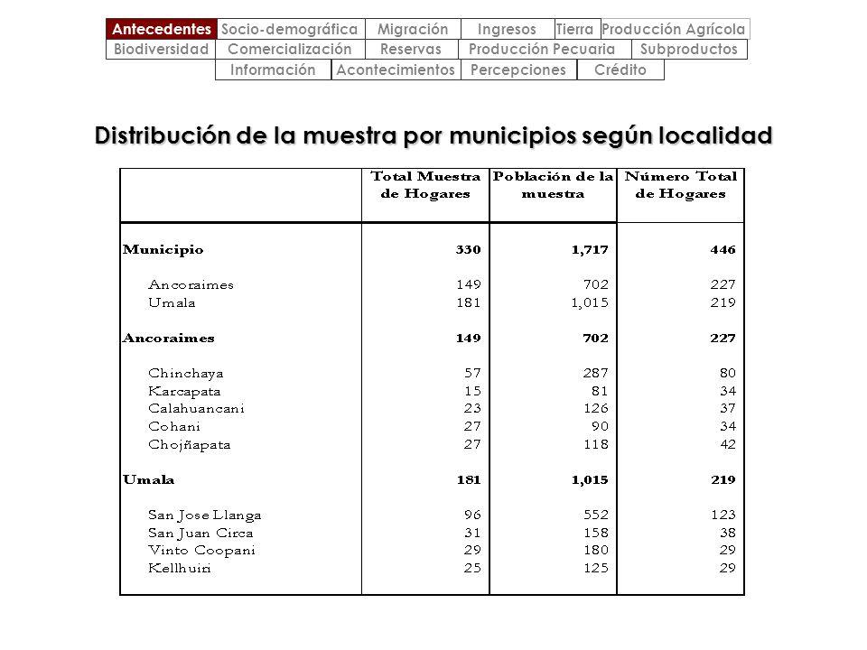Distribución de la muestra por municipios según localidad