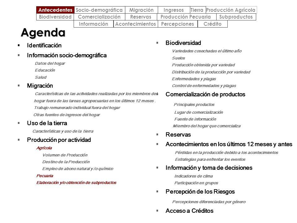 Agenda Biodiversidad Identificación Información socio-demográfica