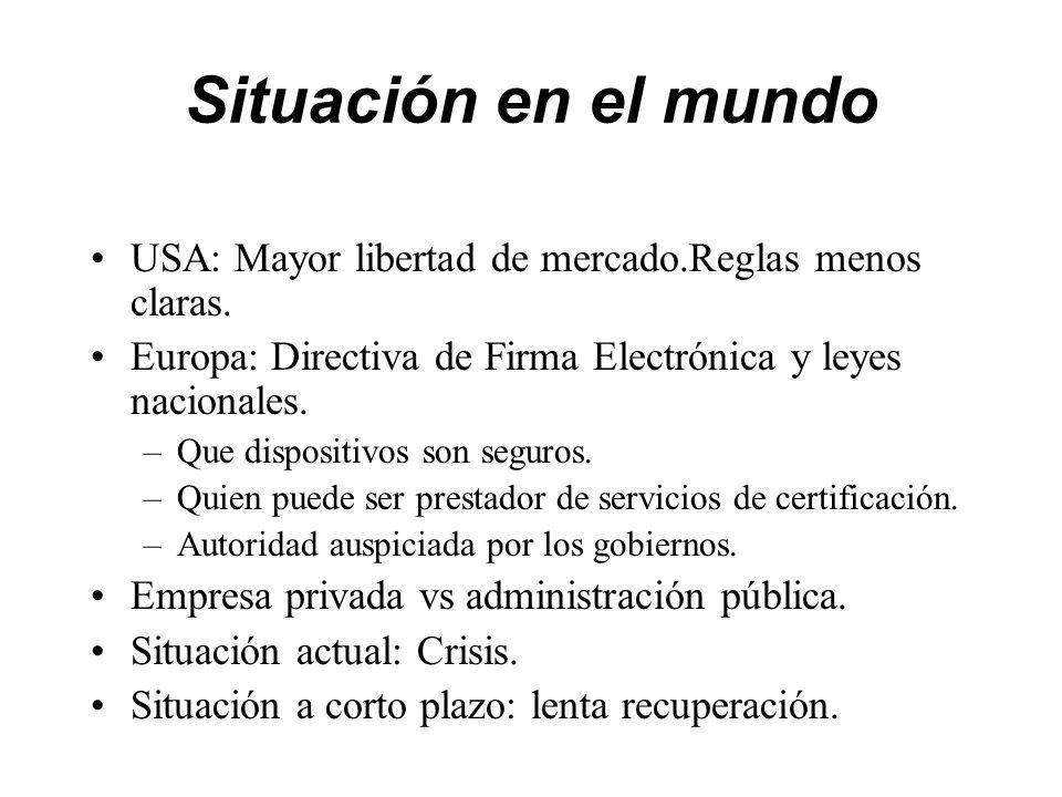 Situación en el mundo USA: Mayor libertad de mercado.Reglas menos claras. Europa: Directiva de Firma Electrónica y leyes nacionales.