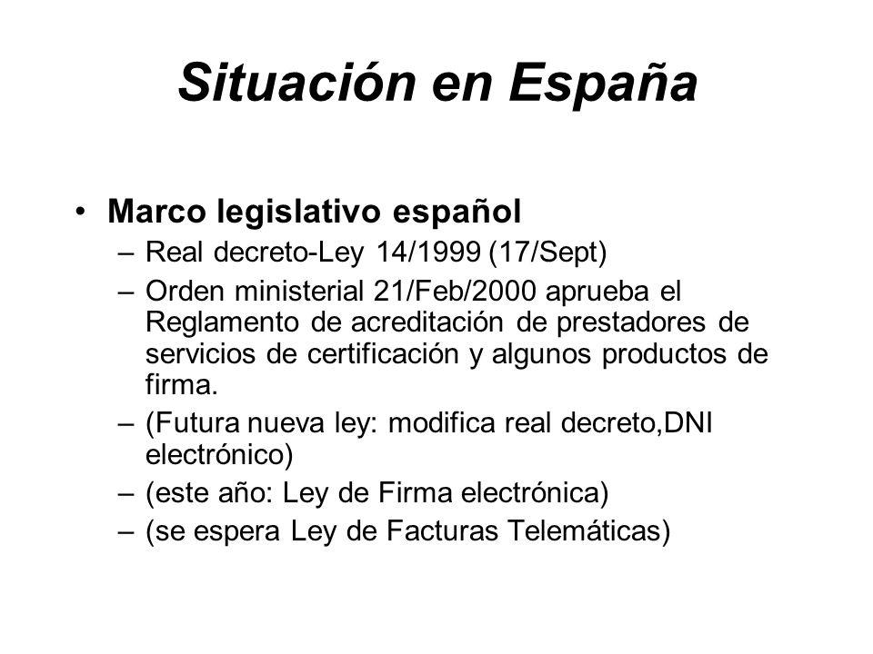 Situación en España Marco legislativo español