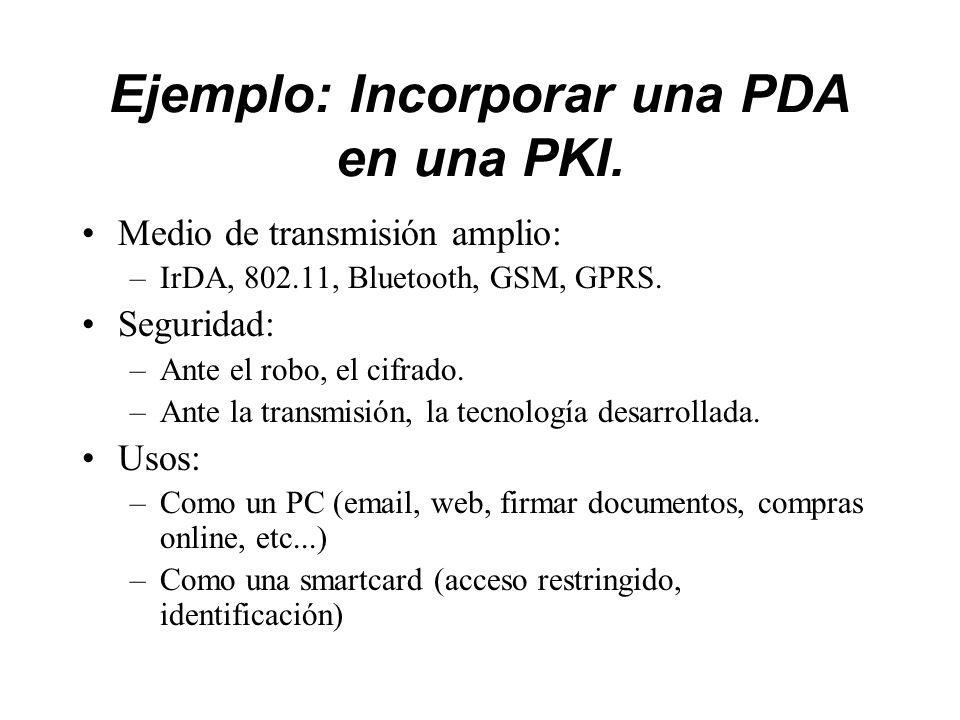 Ejemplo: Incorporar una PDA en una PKI.
