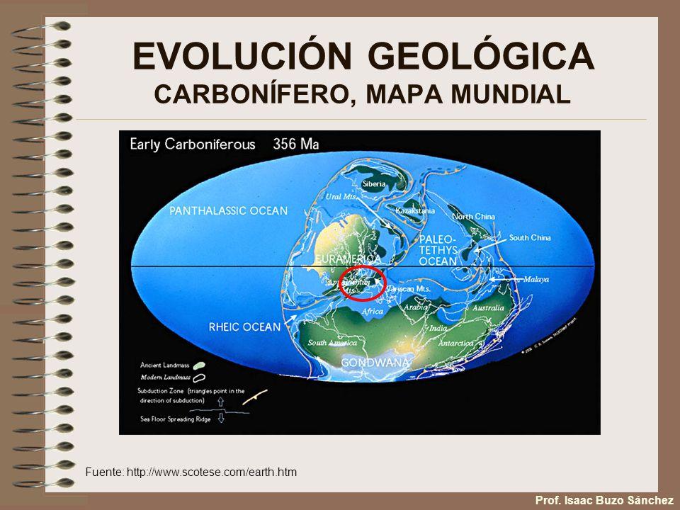 EVOLUCIÓN GEOLÓGICA CARBONÍFERO, MAPA MUNDIAL