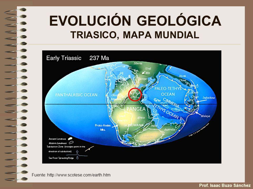 EVOLUCIÓN GEOLÓGICA TRIASICO, MAPA MUNDIAL