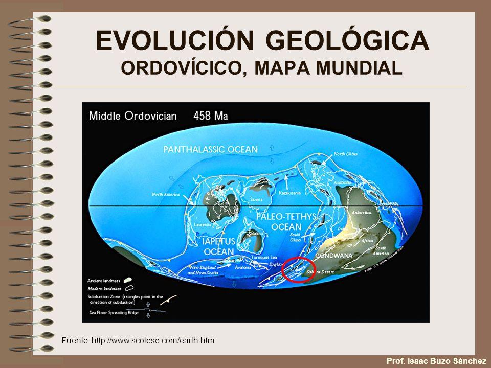 EVOLUCIÓN GEOLÓGICA ORDOVÍCICO, MAPA MUNDIAL