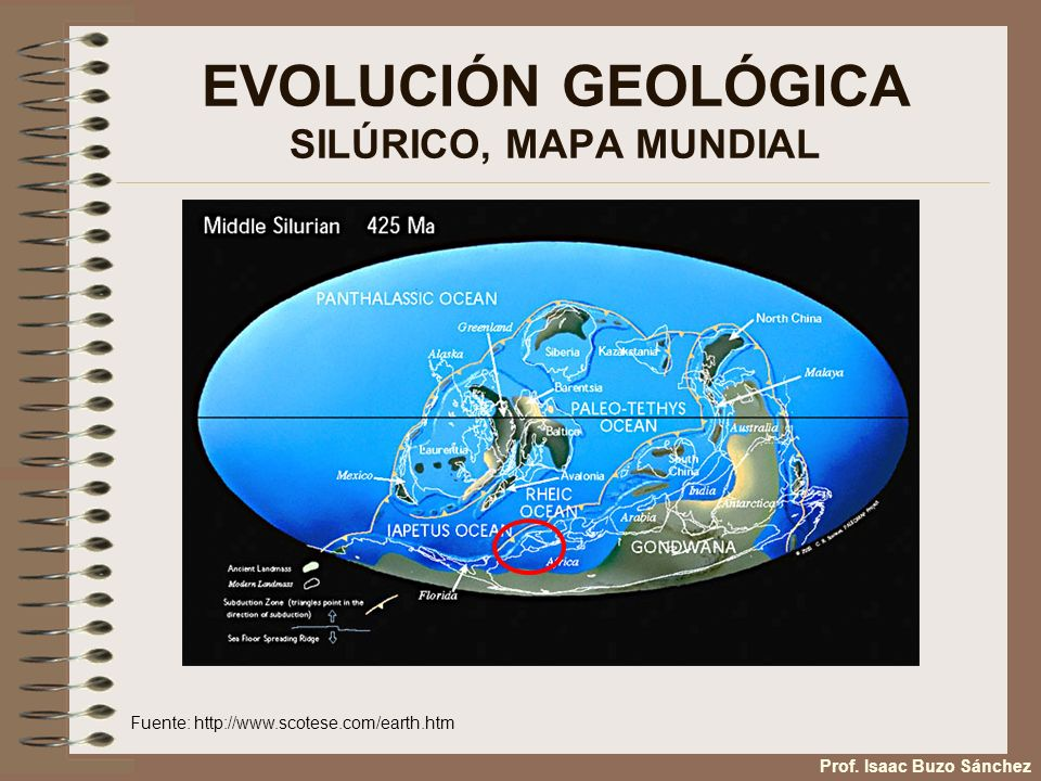 EVOLUCIÓN GEOLÓGICA SILÚRICO, MAPA MUNDIAL