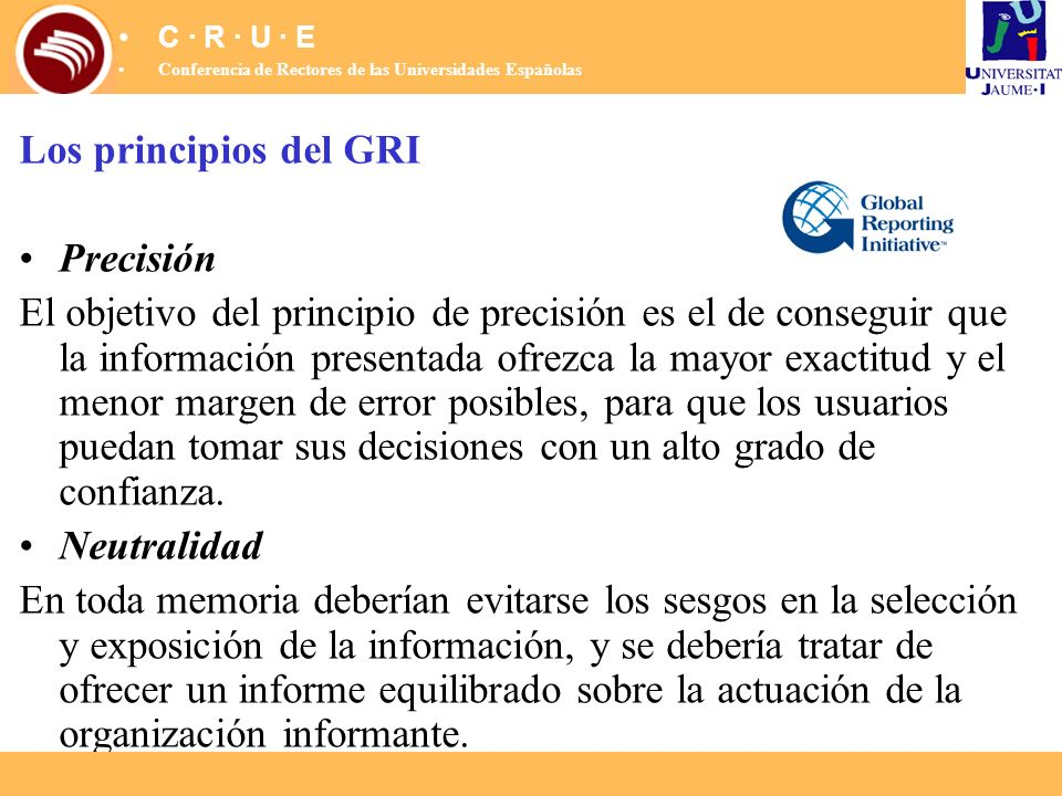 Los principios del GRI Precisión