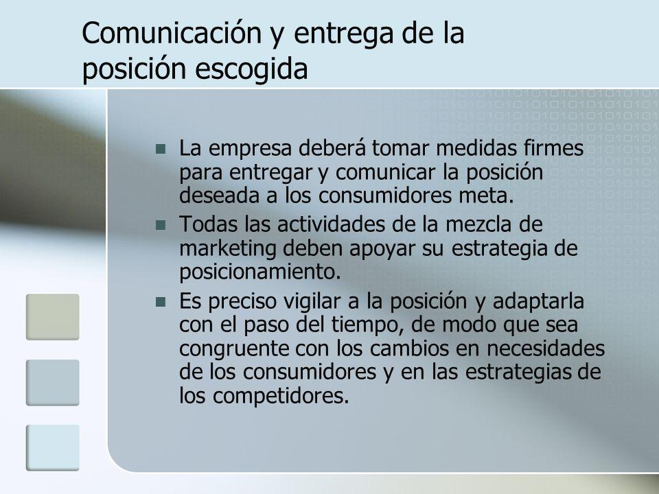 Comunicación y entrega de la posición escogida